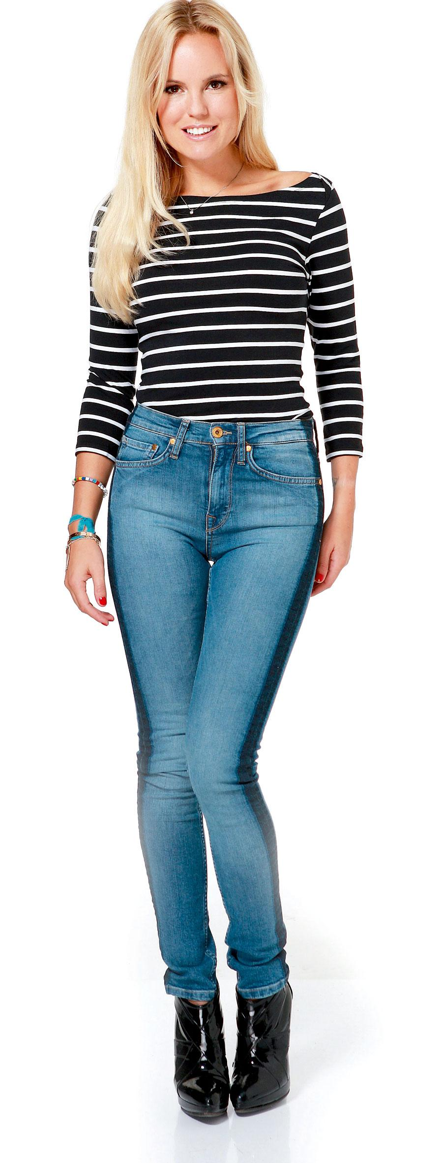 """""""Jag föredrar stuprör med lite högre midja så att benen ser längre ut. Dessutom gillar jag revärerna på dessa."""" Crocker/JC, 599 kronor."""