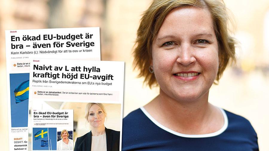Till skillnad från SD tycker inte vi att EU-samarbetet är något dåligt. Och till skillnad från SD förstår vi att kollapsar EU:s ekonomi, då kollapsar även Sveriges, skriver liberalernas Karin Karlsbro.