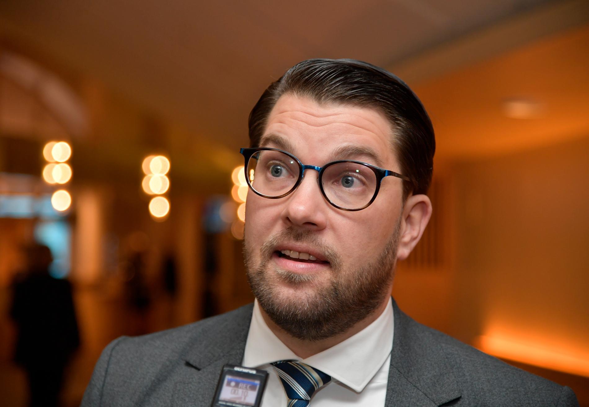 Jimmie Åkesson vill att regeringen tar initiativ till att frågan om en ny granskningskommission om Palmemordet lyfts.