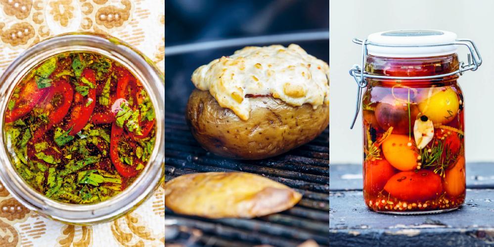 Chilisås, rökt potatis och picklade toamter.