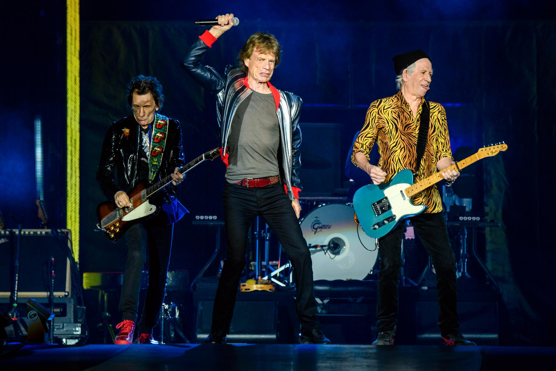 Ronnie Wood, Mick Jagger och Keith Richards på The Dome at America's Center i St. Louis.