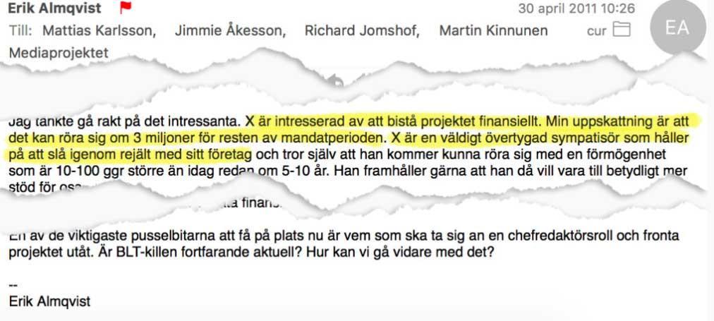 Mejlet Erik Almqvist skickade till partikamraterna i SD i april 2011.
