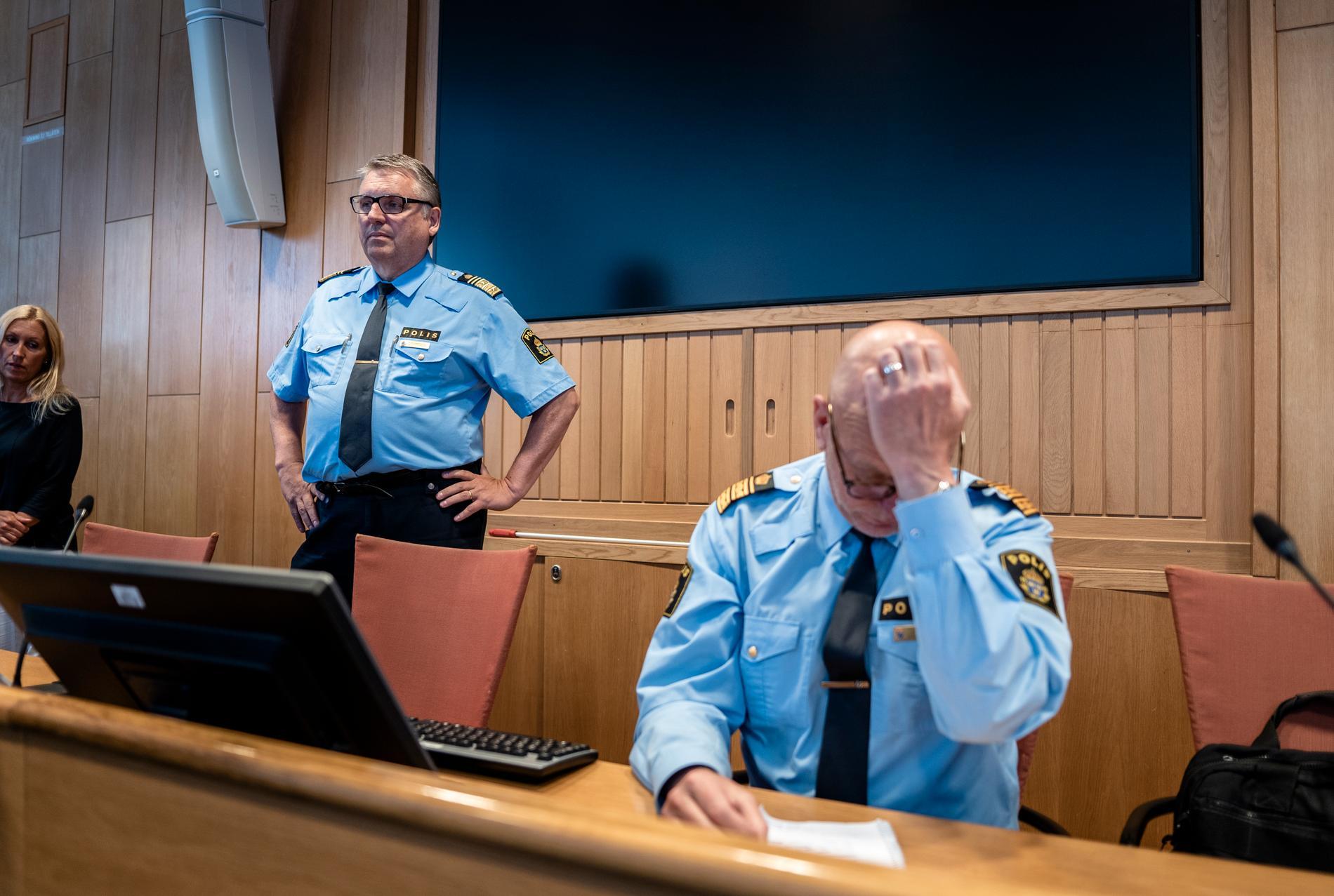 Klas Johansson, regionpolischef i väst, och Erik Nord, polisområdeschef Storgöteborg.