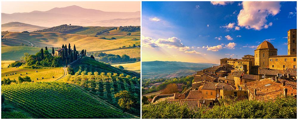 Njut av sköna landskap och god mat och dryck i Toscana.