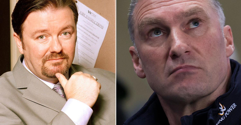 """David Brent från """"The Office"""" och Leicester-tränaren Nigel Pearson"""