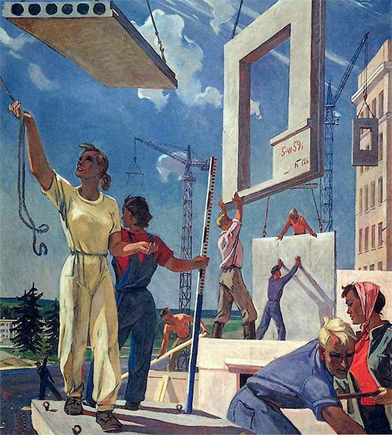 """Välfärdselement: """"Building peace"""", skiss av Alexander Deineka för en mural på First national art exhibition of Soviet, Moskva, 1960."""