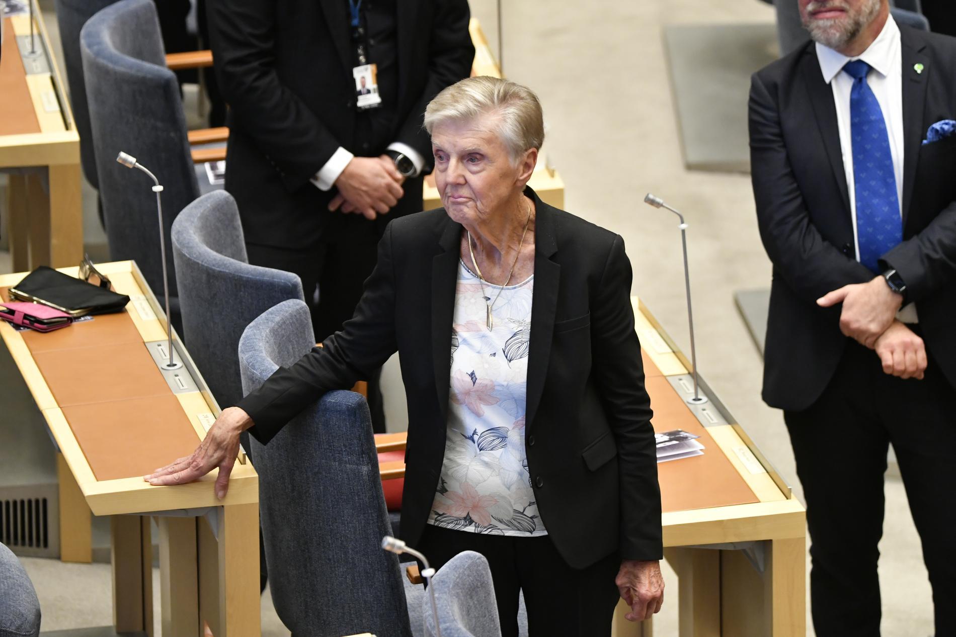 Liberalernas Barbro Westerholm, 87, vid riksmötets öppnande tidigare i veckan.