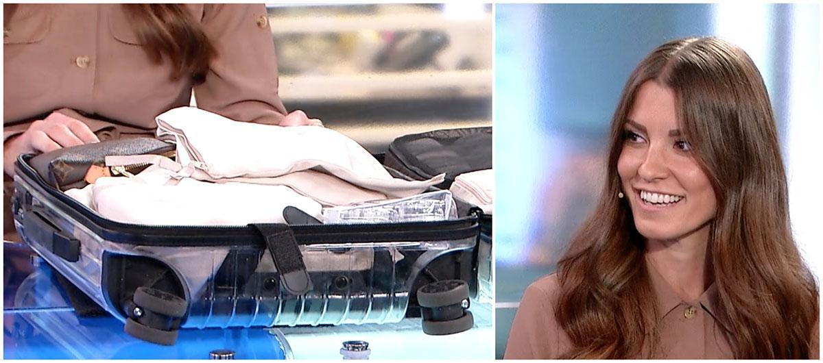 Linn Herbertsson packar sina saker i små tygpåsar och boxar för att ha koll på sina saker i handbagaget.