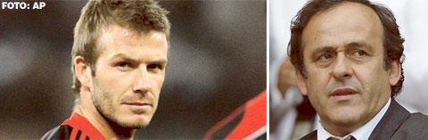 """PÅ LÅN """"Varför då inte bara låna en spelare för en match? Eller kanske fem spelare för en final?"""" Uefa-ordföranden Michel Platini (t.h.) gillar inte Beckhams avtal med Milan."""