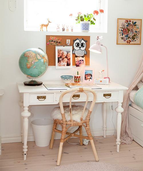 Jordgloben är från Tradera. Skrivbordslampan från Jollyroom och radion från JBL. Anslagstavlan i kork, papperskorgen och stolen är från Ikea. Skrivbordet är köpt på Blocket och är från 1800-talet.