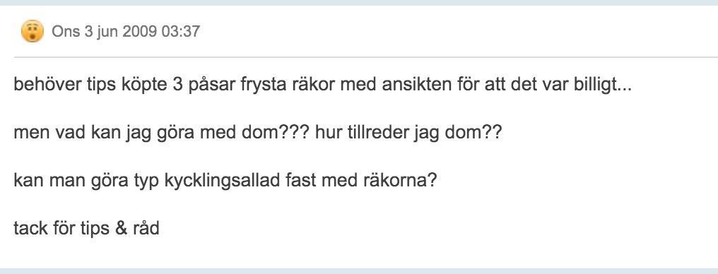 Här är det omtalade inlägget som roat svenskarna i flera år.