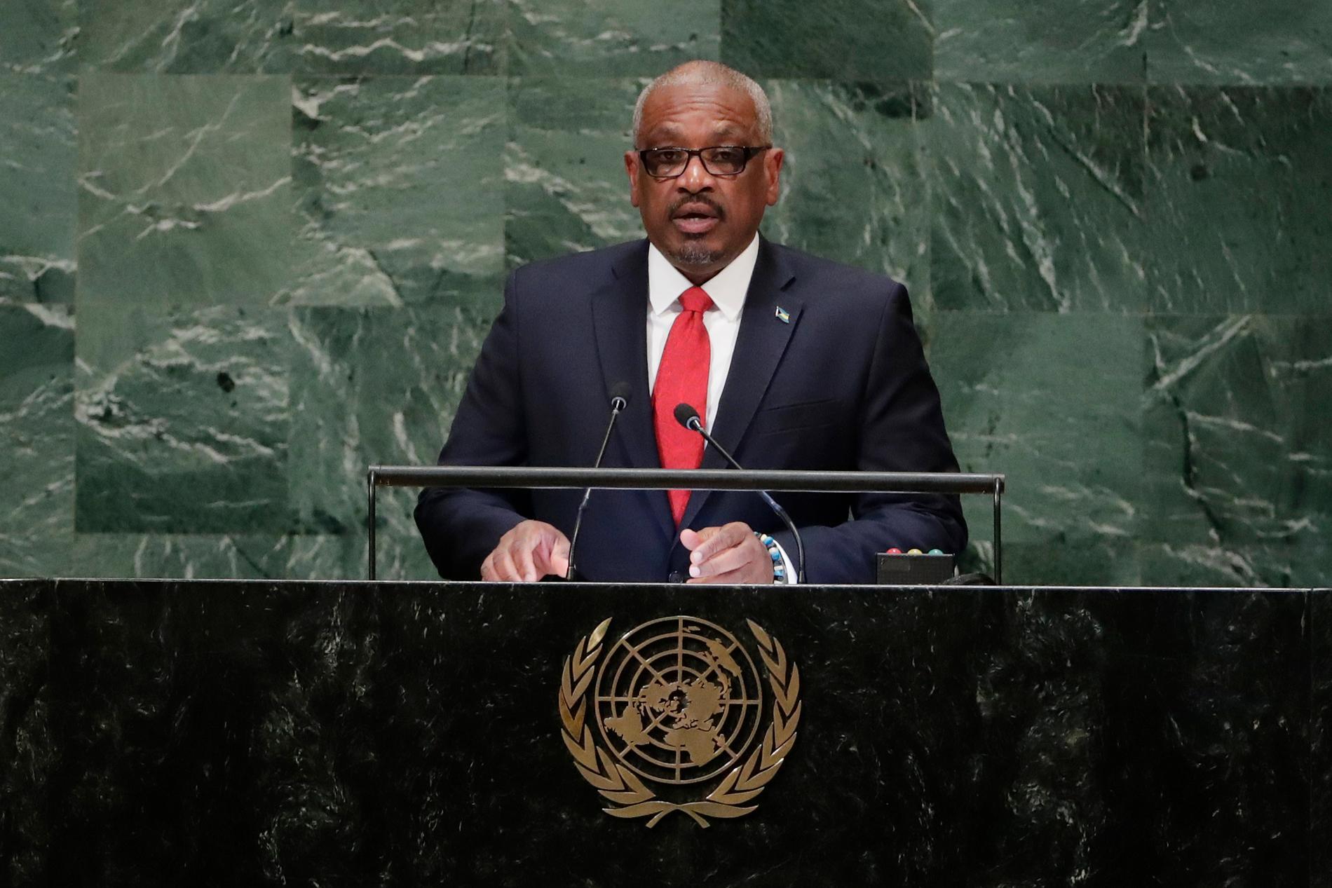 Bahamas nu avgående premiärminister Hubert Minnis. Arkivbild.
