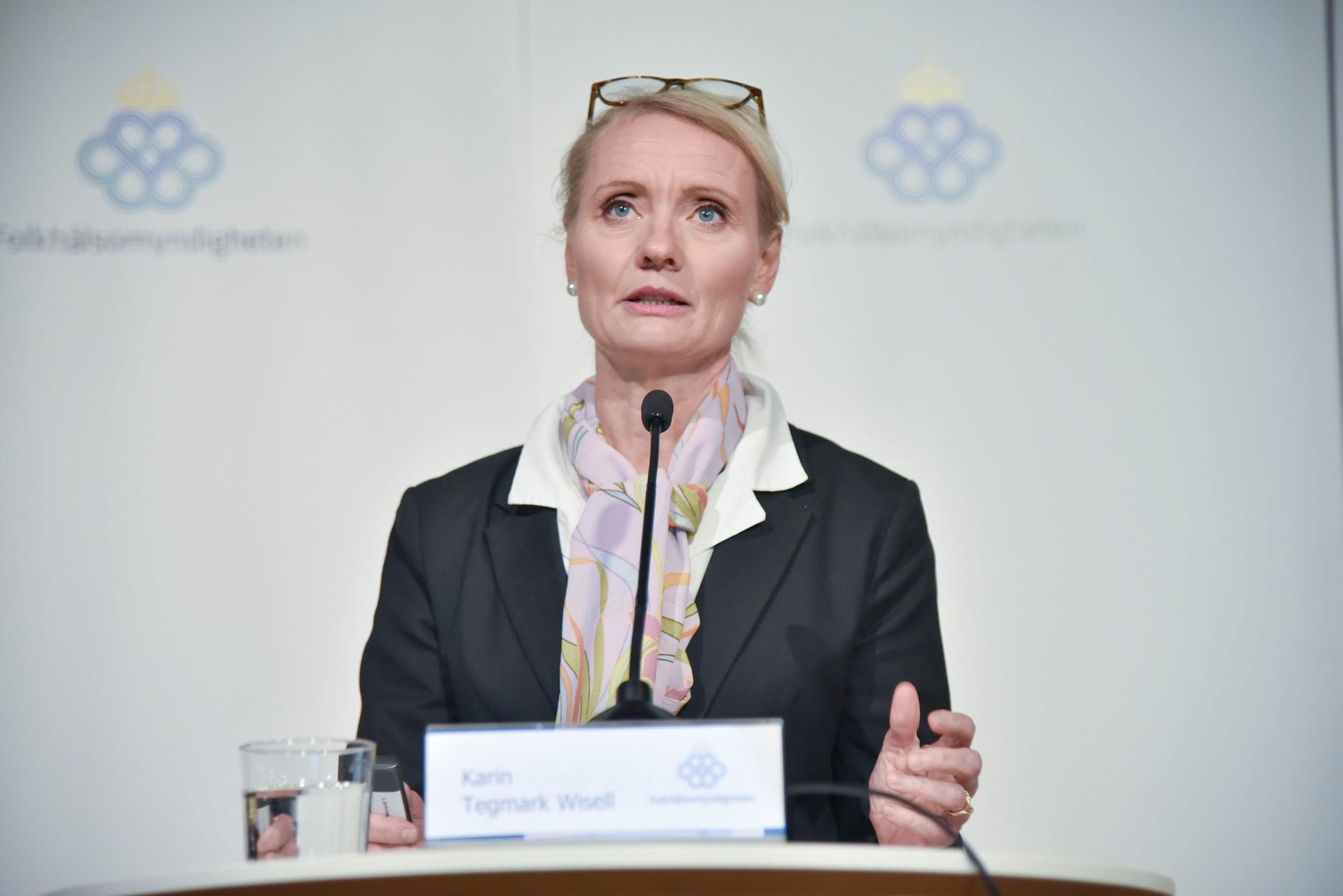 Karin Tegmark Wisell, avdelningschef och biträdande statsepidemiolog vid Folkhälsomyndighetens pressträff på torsdagen.