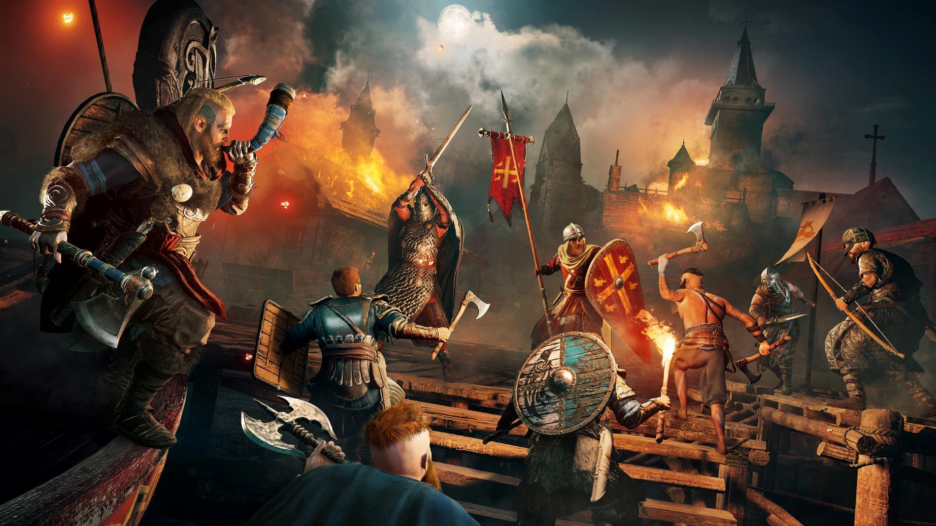 """Bland spelen som kommer att erbjudas finns flera titlar från spelserien """"Assassin's Creed"""", på bilden syns spelet """"Assassin's creed Valhalla"""". Pressbild."""