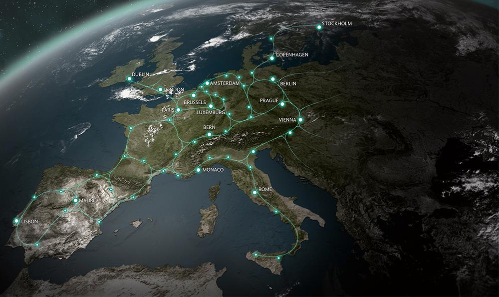 Hardt Global Mobilitys vision om ett framtida hyperloopnät.
