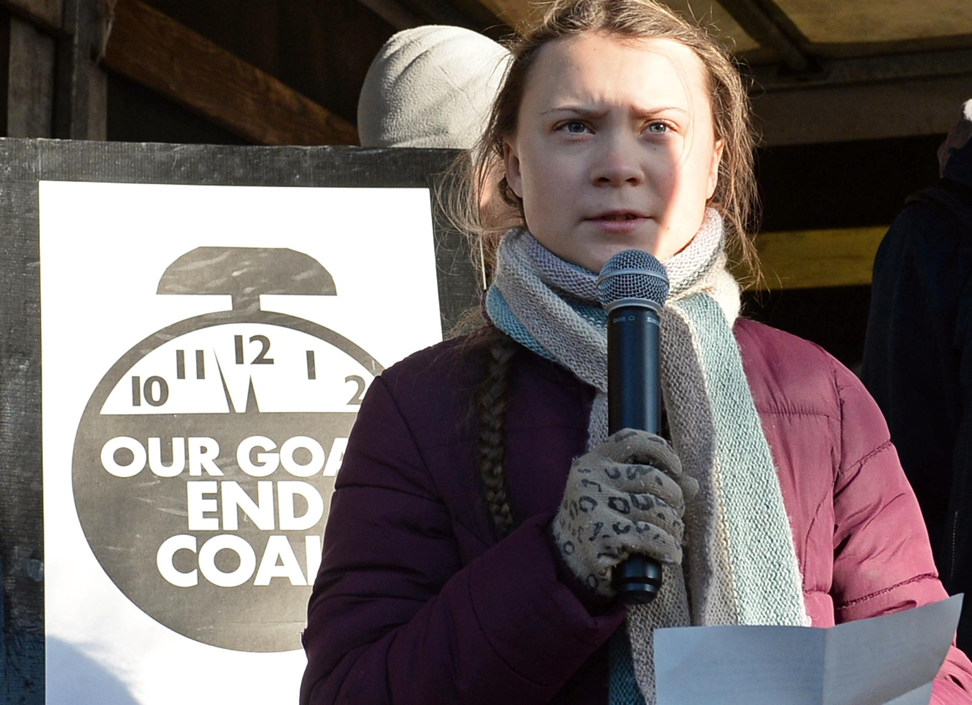 Greta Thunberg under klimatmarschen i Katowice i Polen i december 2018.