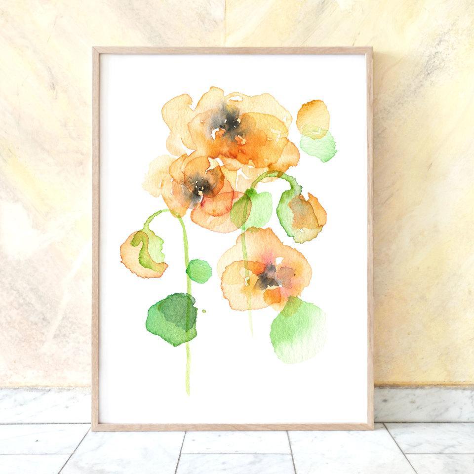 Skira vallmoblommor i akvarell av Matilda Svensson