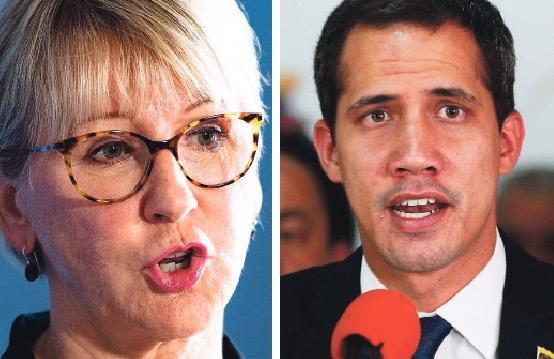 Margot Wallström och Juan Guaidó.
