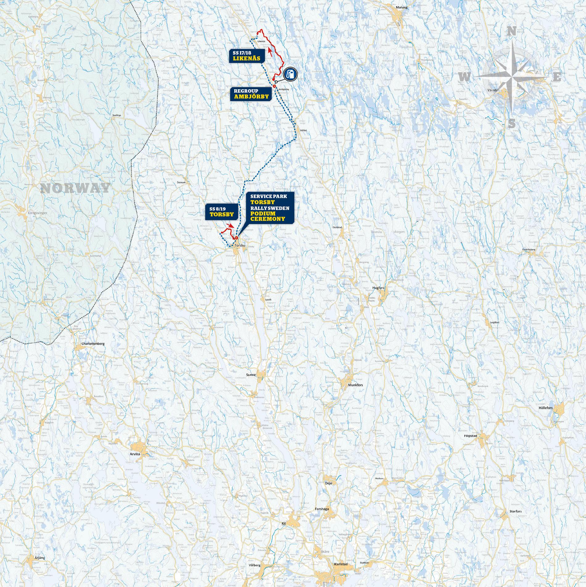 Karta till Rally Sweden dag 4 (innan kortningen)