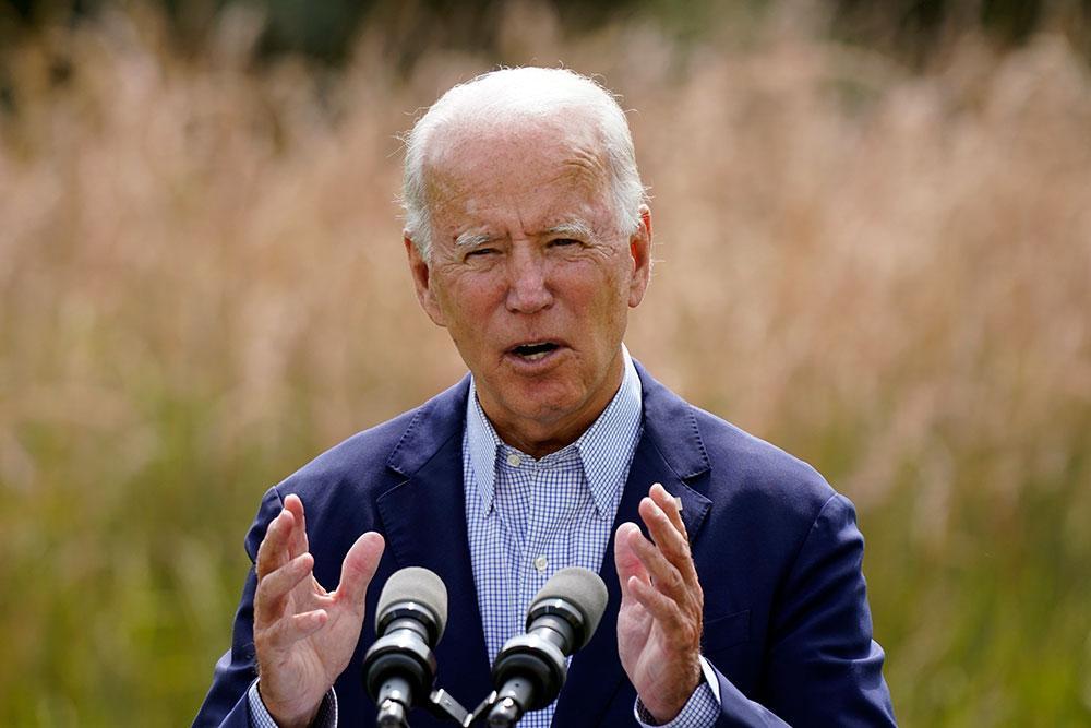 Presidentkandidaten Joe Biden uttalade sig på måndagen.