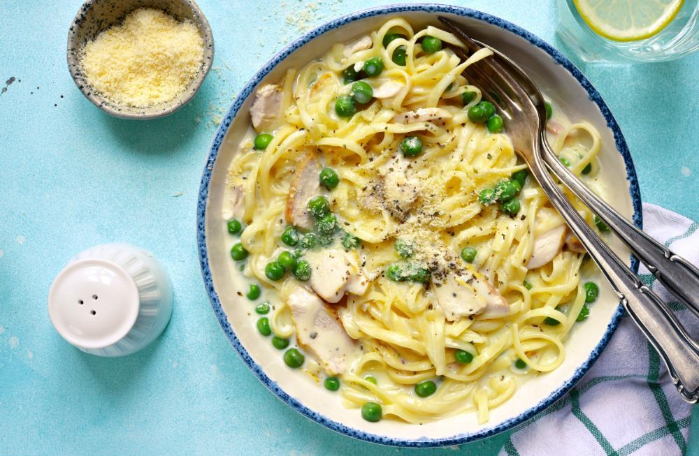 Pasta Alfredo – med kyckling.