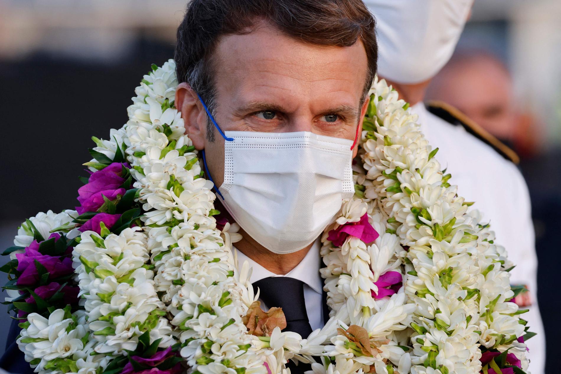 Emmanuel Macron på besök i Haiti.
