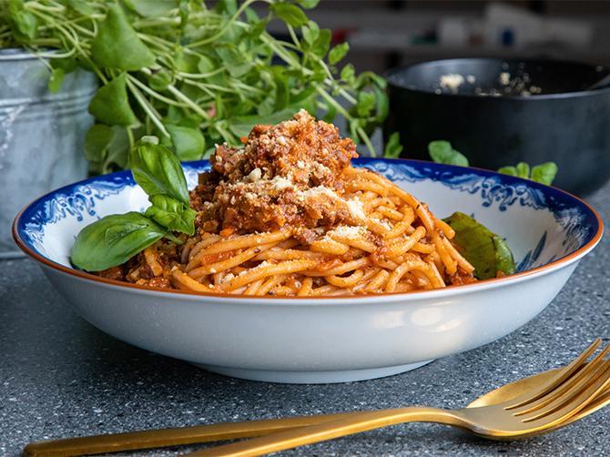 Spagetti med köttfärssås – utan kött