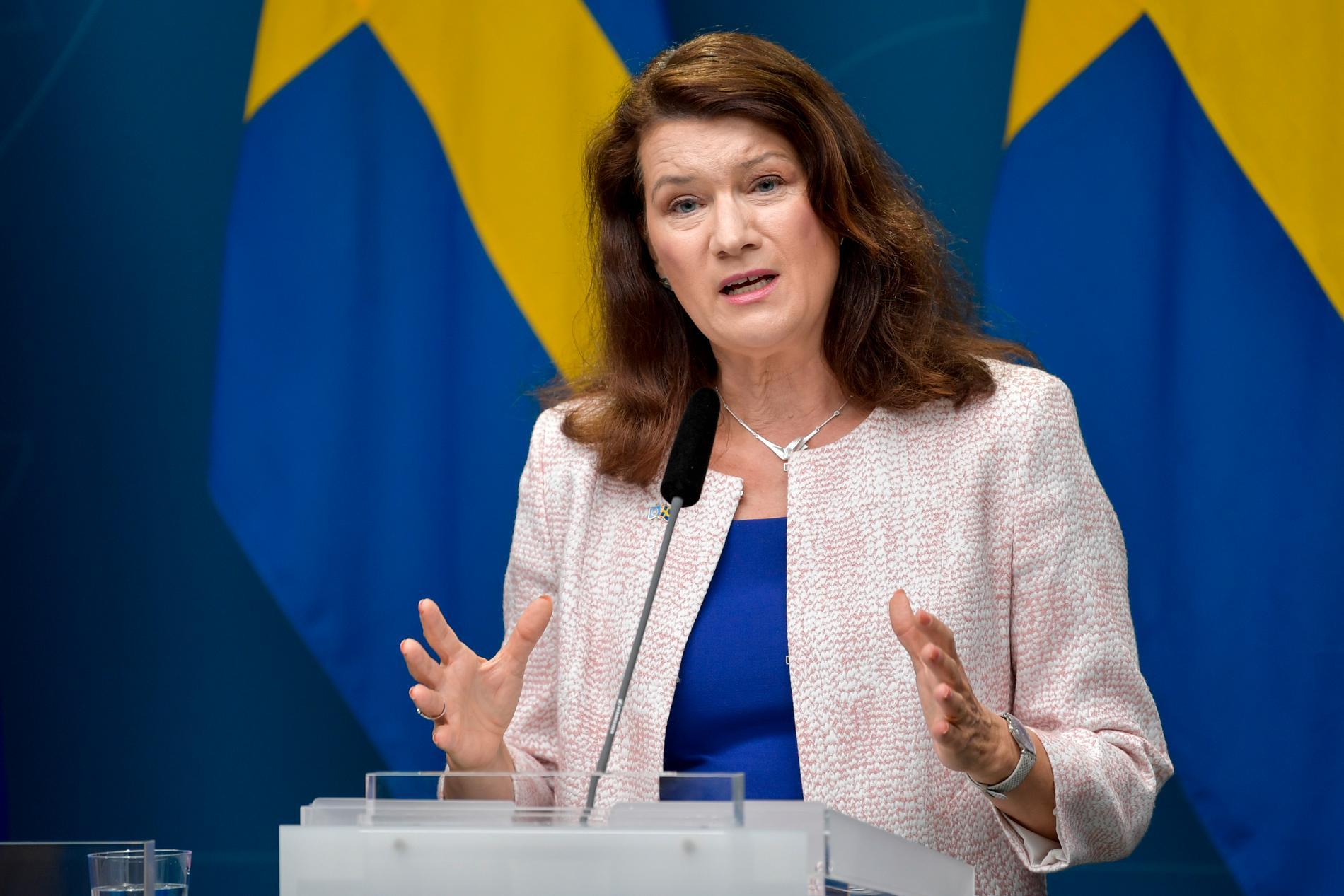 Utrikesminister Ann Linde (S) under pressträffen om utrikesresor.